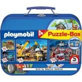 Jigsaw puzzle 60 pcs - Giftbox Metal (4x) - Playmobil (by Schmidt)