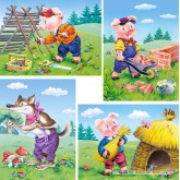 Jigsaw puzzle 8 pcs - Three Little Pigs - Progressive (by Castorland)