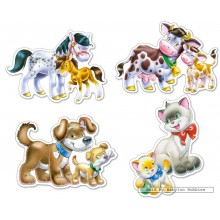 Jigsaw puzzle 4 pcs - Animals with Babies - Baby (by Castorland)