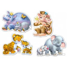 Jigsaw puzzle 4 pcs - Jungle Babies - Baby (by Castorland)