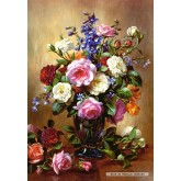 Jigsaw puzzle 1000 pcs - Roses in a Blue Vase (by Castorland)