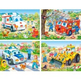 Jigsaw puzzle 8 pcs - Funny Vehicles - Progressive (by Castorland)