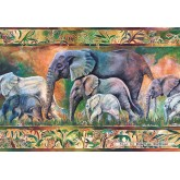 Jigsaw puzzle 1000 pcs - Parade of Elephants (by Castorland)