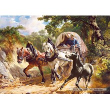 Jigsaw puzzle 3000 pcs - Covered wagon in a narrow path, R. Koller (by Castorland)