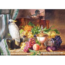 Jigsaw puzzle 3000 pcs - Still Life With Fruit and a Cockatoo, Josef Schuster (by Castorland)