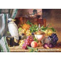 3000 pcs - Still Life With Fruit and a Cockatoo, Josef Schuster (by Castorland)