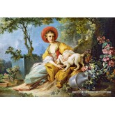 1500 pcs - A Young Woman Seated with a Dog (by Castorland)