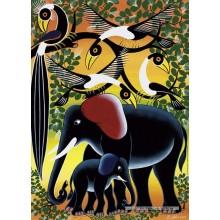 Jigsaw puzzle 1000 pcs - Elephant Family  - Tinga Tinga (by Heye)