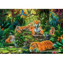 Jigsaw puzzle 1000 pcs - Tiger Family At The Waterhole (by Jumbo)