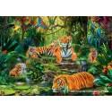 1000 pcs - Tiger Family At The Waterhole (by Jumbo)