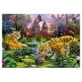 Jigsaw puzzle 500 pcs - Tigers at the Ancient Stream - Genuine (by Educa)