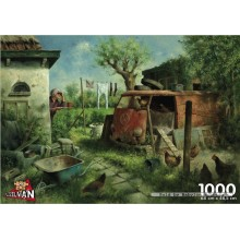 Jigsaw puzzle 1000 pcs - Chickens in the Bus - Van Dokkum (by Puzzelman)