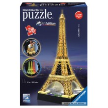 Jigsaw puzzle 216 pcs - Eiffel Tower by Night  - Puzzle 3D Night Edition (by Ravensburger)