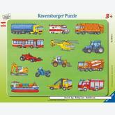 Jigsaw puzzle 15 pcs - Many Vehicles - Frame puzzles (by Ravensburger)