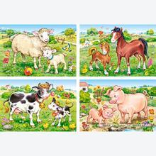 Jigsaw puzzle 8 pcs - Animal Moms and Babies - Progressive (by Castorland)