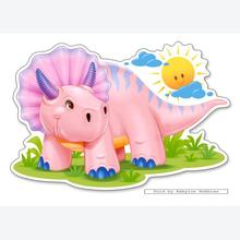 Jigsaw puzzle 12 pcs - Pink Baby Dinosaur - Extra Large Pieces (by Castorland)