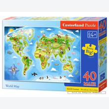 Jigsaw puzzle 40 pcs - World Map - Extra Large Pieces (by Castorland)