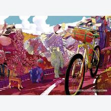 Jigsaw puzzle 1000 pcs - Tour in Pink - Bike Art (by Heye)
