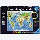 100 pcs - Animals World Map - Color Starline (by Ravensburger)