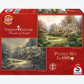 Jigsaw puzzle 1000 pcs - Holiday at & Gardens beyond Spring Gate (2 puzzles) - Thomas Kinkade (by Schmidt)