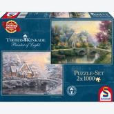 1000 pcs - Lamplight Manour & Winter in Lamplight Manour (2 puzzles) - Thomas Kinkade (by Schmidt)