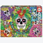 Jigsaw puzzle 1000 pcs - Sugar Skulls Neon - Neon (by Educa)