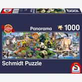 Jigsaw puzzle 1000 pcs - Colorful Animal Kingdom - Panorama (by Schmidt)