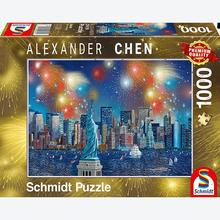 Jigsaw puzzle 1000 pcs - Alexander Chen, Statue of Liberty with fireworks (by Schmidt)