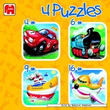 Jigsaw puzzle 4 pcs - Vehicles (by Jumbo)