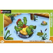 Jigsaw puzzle 15 pcs - Franklin Takes a Bath (by Nathan)