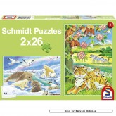 Jigsaw puzzle 26 pcs - Baby Animals (2x) (by Schmidt)
